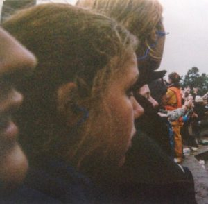 Jane (far left) on the rail for Pearl Jam at Roskilde 2000